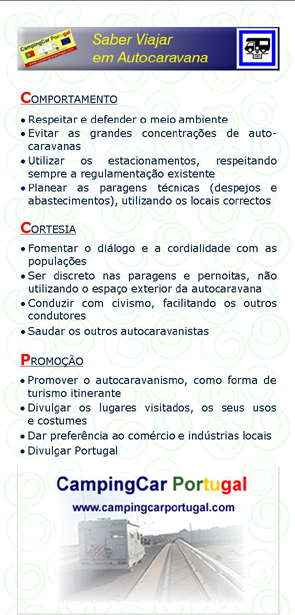 Brochura CampingCar Portugal – verso